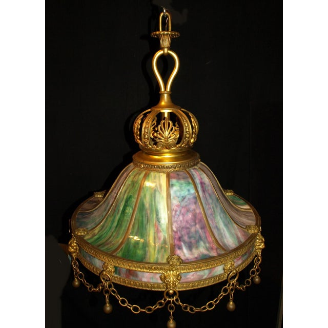 Mid 19th Century Antique Chandelier. Stained Glass Lamp For Sale - Image 5 of 6