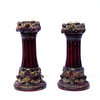 Neoclassical Italian French Gold Red Candlesticks For Sale