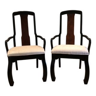 1970s Ming Style White Velvet Upholstered Arm Chairs - a Pair