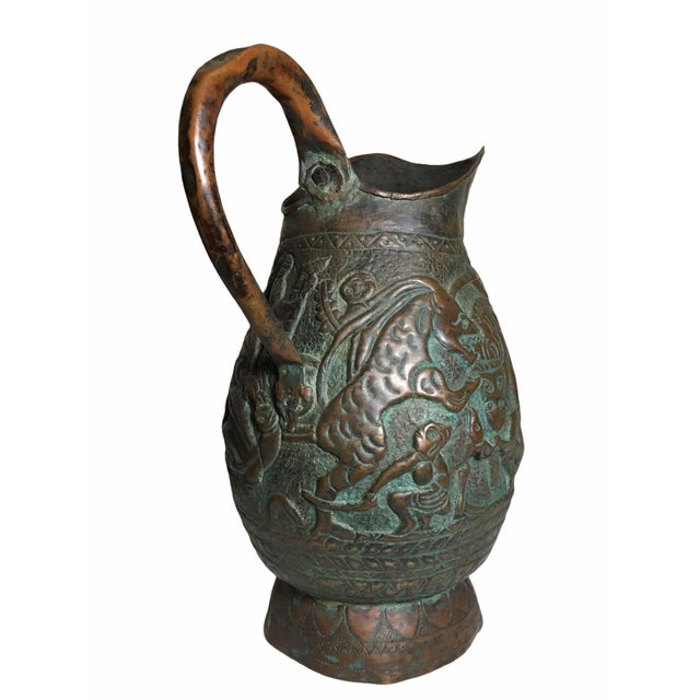 Late 19th Century 19th Century Persian Qajar Dynasty Copper Pitcher/Jug For Sale - Image 5 of 13