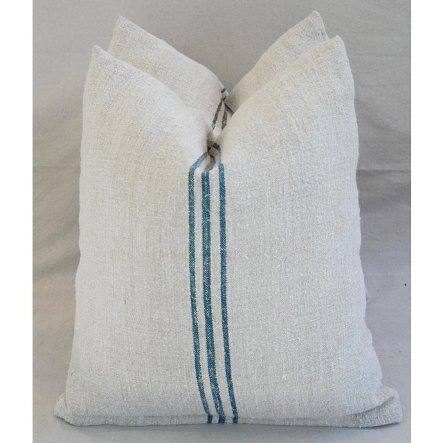 Blue Stripe French Grain Sack Pillows - Pair - Image 7 of 11