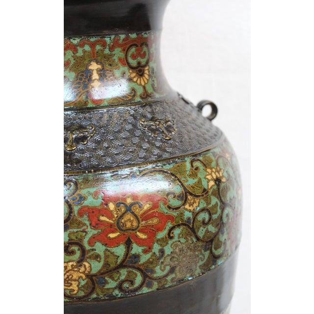 Large Champleve Enameled Urn Lamp - Image 4 of 7