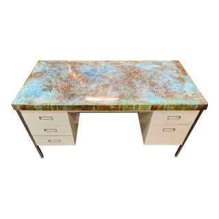 Vintage Industrial Allsteel Executive Tanker Desk With Custom Stained Concrete Top in Cool Tones For Sale