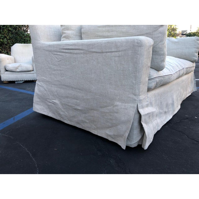 Belgian Restoration Hardware Belgian Track Arm Classic Slipcover 6' Sofa For Sale - Image 3 of 8