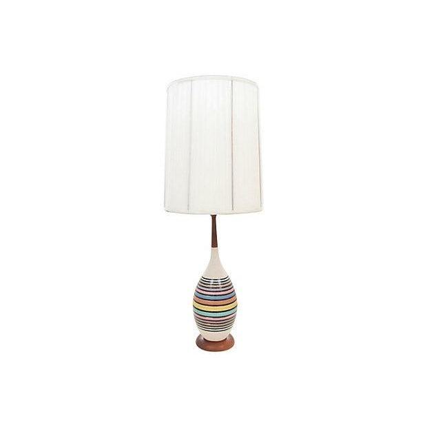 Mid-Century Multicolor Stripe Lamp - Image 2 of 9