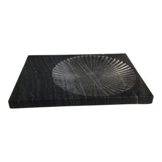 Global Views Thin Black Carved Marble Plateau For Sale