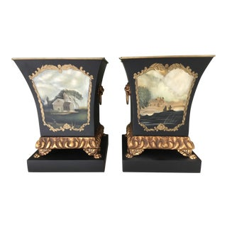 Contemporary Classical Style Landscape Motif Planters - a Pair For Sale