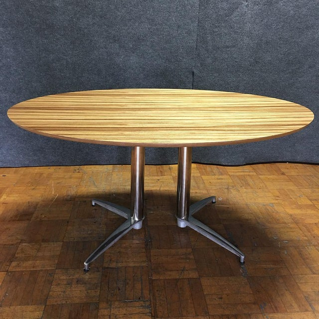 Crate & Barrel Modern Round Dining Table - Image 4 of 10