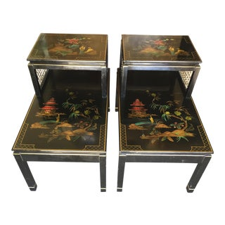 Chinoiserie Signed Katherine Henick Side Table - A Pair For Sale