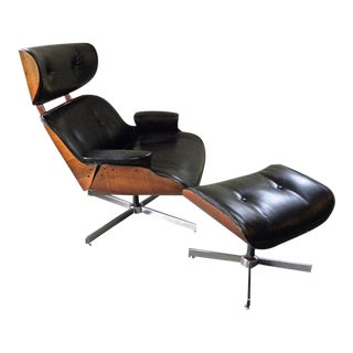 Vintage Mid Century Plycraft Vinyl Lounge Chair & Ottoman For Sale