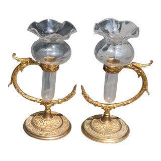 Signed F. & C. Osler 19th Century Gilt Bronze Serpantine Epergnes - A Pair For Sale