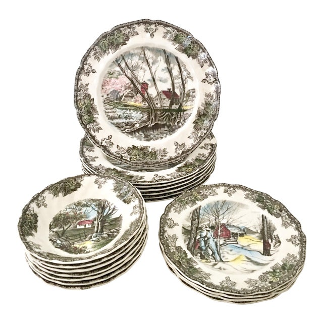 """1950's Johnson Brothers English """"Friendly Village"""" Dinnerware - Set of 17 For Sale"""