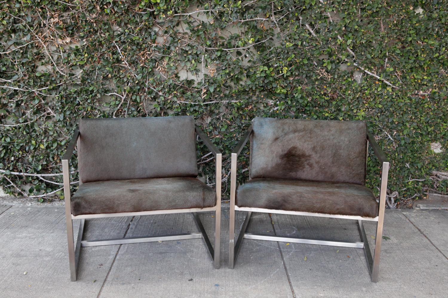 Pair of incredibly cool horse hide upholstered chairs with modern chrome base. Hair on hide  sc 1 st  Chairish & Gus Modern Horse Hide u0026 Chrome Chairs - A Pair | Chairish