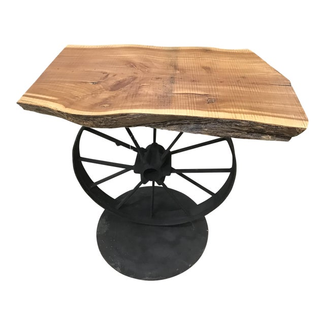 Custom Wood & Iron Side Table - Image 1 of 5