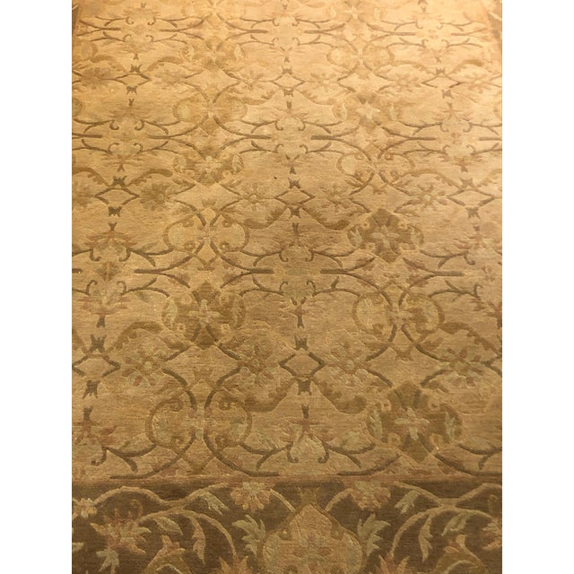 Traditional Neutral Luxurious Silk Tibetan Area Rug- 6′2″ × 8′11″ For Sale - Image 3 of 10