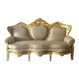 1940s French Louis XVI Style Gold Sofa