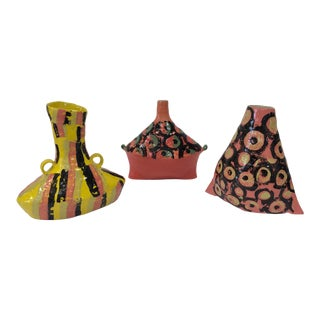 Egyptian Inspired Ceramic Vases, Bright Spring Colors - Set of 3 For Sale