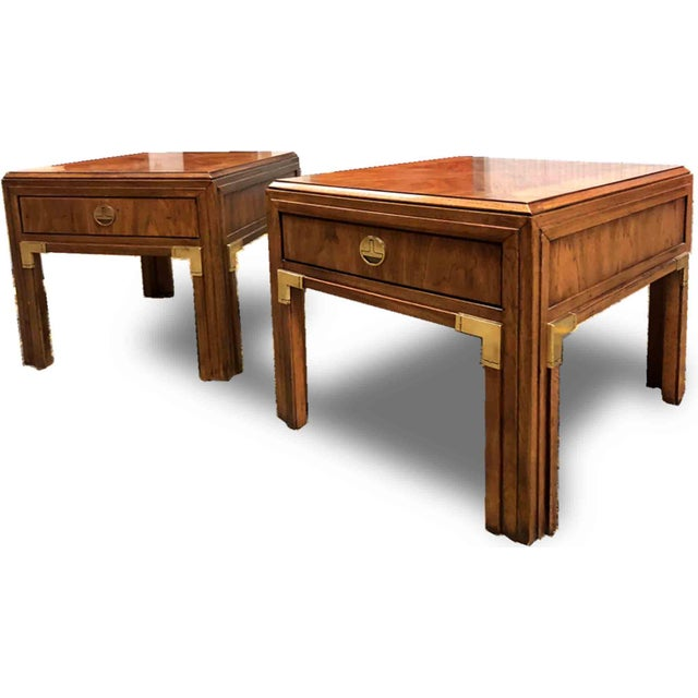 Pair of very nice Hollywood REgency campaign style nightstand chests / Side tables. Each complete with 1 drawer (Slides...
