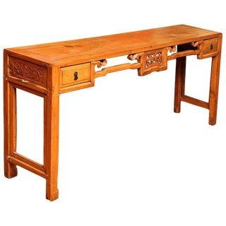 Chinese, 19th Century, Natural Elm Antique Console Table with Carved Decor For Sale