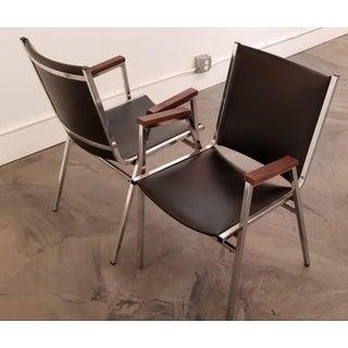 Chrome Industrial Modern Arm Chairs - a Pair Preview