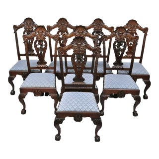 Late 19th Century Antique Mahogany Georgian Shell Carved Ball and Claw Dining Chairs- Set of 8 For Sale