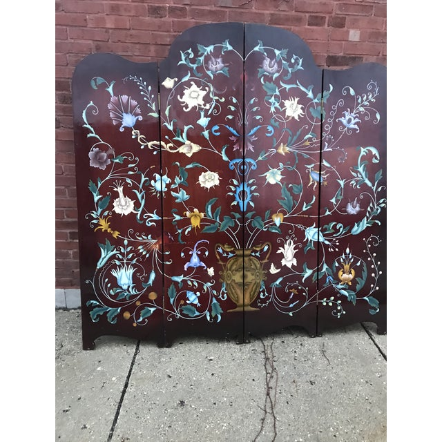1940's Era Vintage Painted Folding Screen For Sale - Image 4 of 11