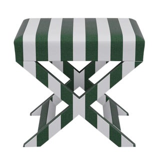 X Bench in Emerald Cabana Stripe For Sale