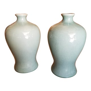 Pair of Decorative Chinese Celedon Vases For Sale