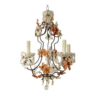 1920, Maison Bagues Style Peach and Clear Flowers Chandelier For Sale