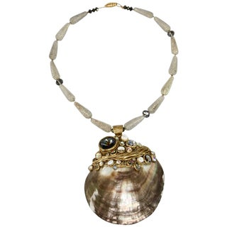 Ella K Jewelry Grey Mother of Pearl and Venetian Glass Necklace For Sale
