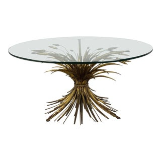 Mid Century Gilded Metal Wheat Sheaf Table Base & Glass Top For Sale