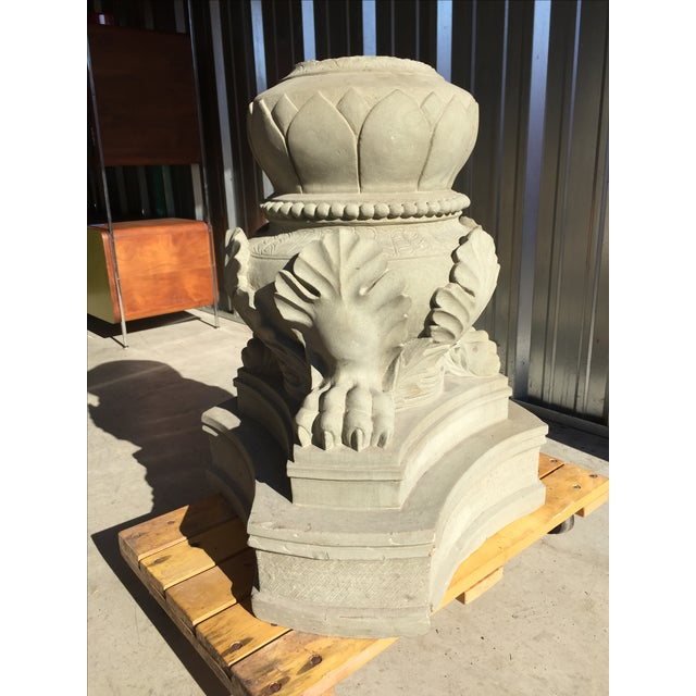 Carved Stone Claw Foot Pillar Base - Image 8 of 9