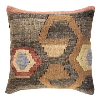 "Reclaimed MidCentury Kilim Pillow | 16"" For Sale"