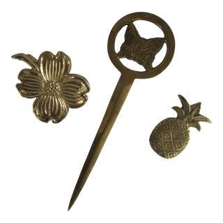 Vintage Brass Desk Accessories - 3 Pieces For Sale