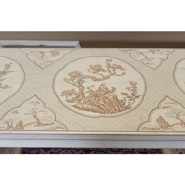 1980s Drexel Heritage White Asian Ming Alter Console Table For Sale - Image 5 of 10