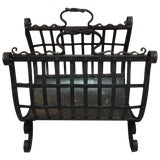 Image of English Iron Fireplace Wood Basket, Early 20th Century For Sale