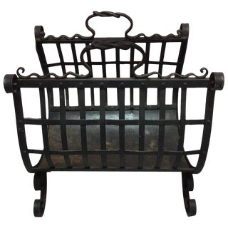 English Iron Fireplace Wood Basket, Early 20th Century For Sale