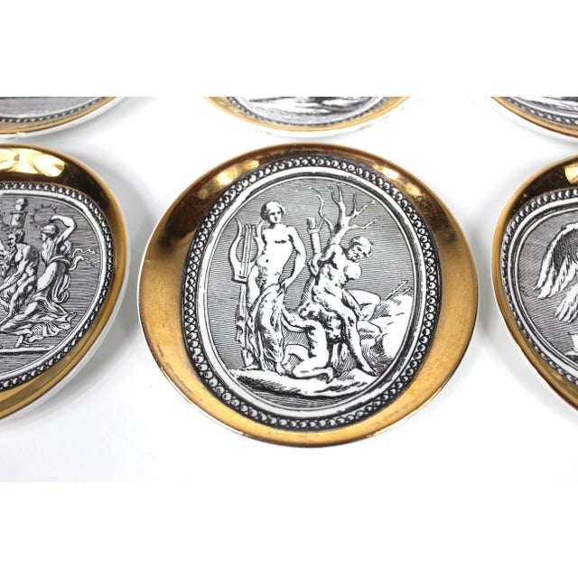 """""""Cammei"""" Gilt Porcelain Coasters by Piero Fornasetti - Set of 6 For Sale - Image 9 of 10"""