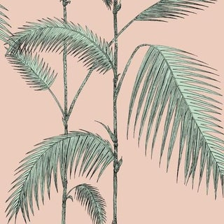Cole & Son Palm Leaves Wallpaper Roll - Plaster Pink/Mint For Sale