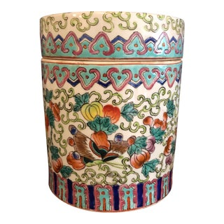 Chinoiserie Porcelain Biscuit Barrel Jar/ Container For Sale