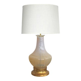 Large-Scaled Murano Mid-Century Butter-Cream Opaque Glass Lamp For Sale