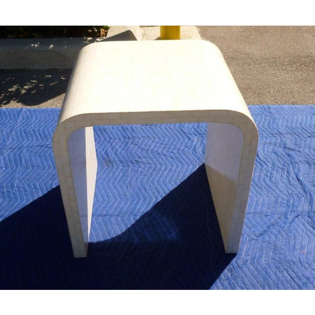1970s 1970's Hollywood Regency Tessellated Bone Side Table For Sale - Image 5 of 9