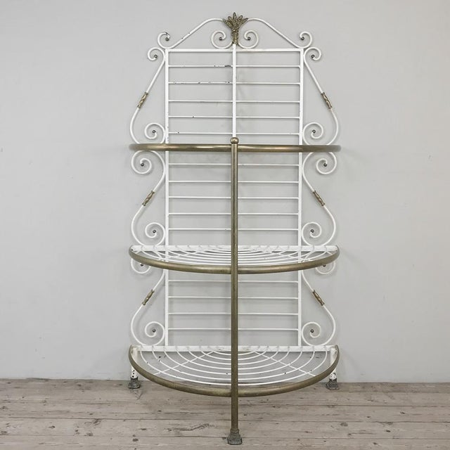 19th Century French Wrought Iron Demilune Baker's Rack ~ In a lovely divergence from the normal rectangular design, this...