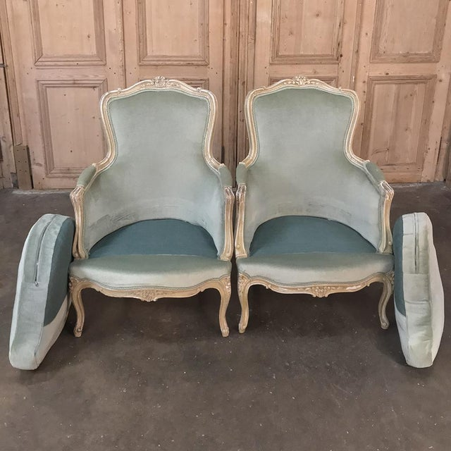 Pair 19th Century French Louis XV Bergeres ~ Armchairs For Sale In Dallas - Image 6 of 12