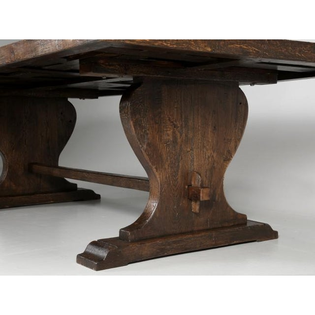 French Oak Trestle Dining Table For Sale - Image 9 of 13