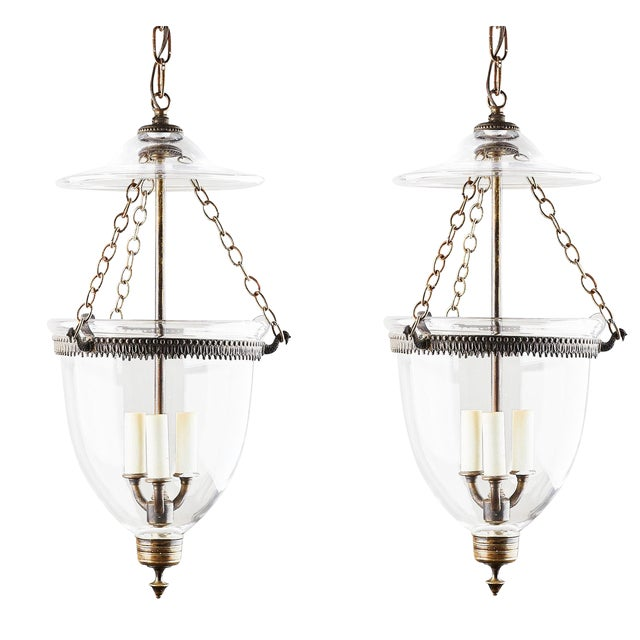 1890s English Bell Jar Lanterns - a Pair For Sale