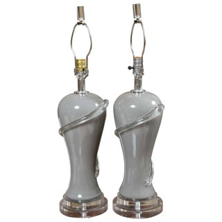 Deco Style Gray Glass Table Lamps - Pair For Sale