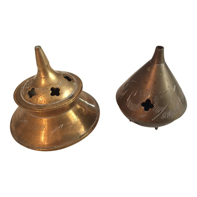 Vintage Brass Incense Holders - 2 Pieces For Sale