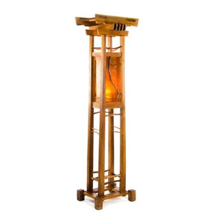 Arts & Crafts Mica Wooden Totem Floor Lamp Preview