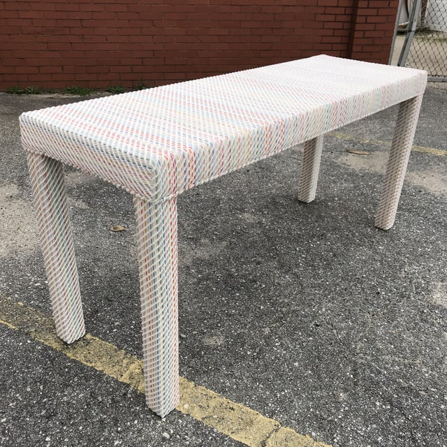 Scalamandre Upholstered Parsons Console Table For Sale - Image 10 of 10